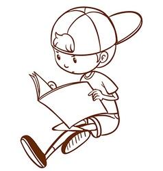 A simple sketch of a boy reading vector image