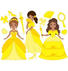 African American Princesses Set vector