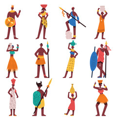 African characters tribe male and female people vector