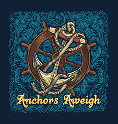 anchor in ropes with ship wheel retro poster vector image