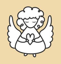 Angel with wings and heart icon hand drawn flat vector