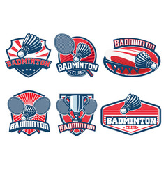 Badminton badge design set vector