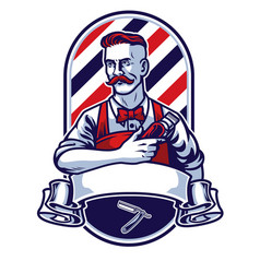 Barber man holding clipper vector
