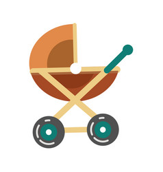 batransport pram in brown color stroller icon vector image