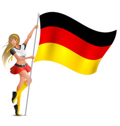 beautiful woman holding flag of german soccer fan vector image