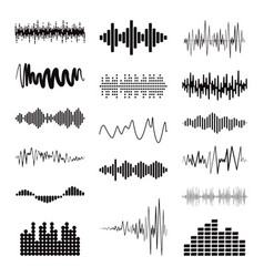 Big black sound wave collection set isolated vector