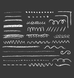 big set chalk lines and strokes on dark vector image