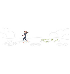 Brave businesswoman jumping over lotus leaves on vector