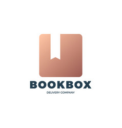 brown book box stock logo online book store vector image