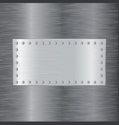 Brushed metal background with square plate vector