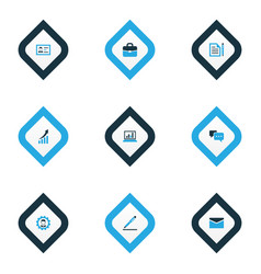 business icons colored set with identification vector image