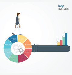 businessman walking on the circle of key vector image