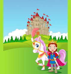 Cartoon prince and royal horse vector
