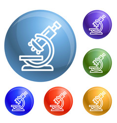 chemical microscope icons set vector image