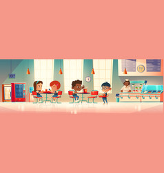Children eat in school canteen vector