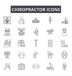 chiropractor line icons for web and mobile design vector image