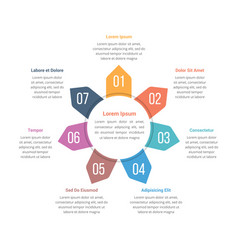 Circle infographics template with seven elements vector