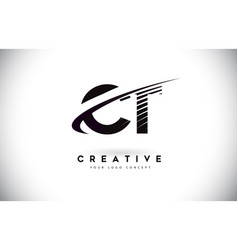 Ct c t letter logo design with swoosh and black vector
