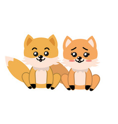 Cute couple fox wild animal with beautiful vector