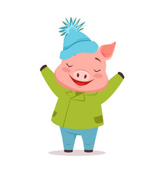 cute happy pig in green warm coat and blue knitted vector image