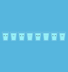 Eight glass cup water icon drink more water vector