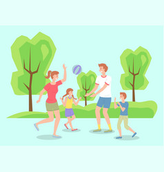 Family spending time in summer park playing vector