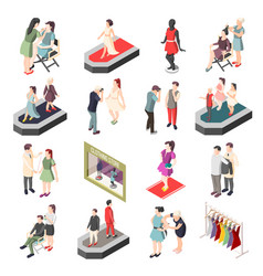 Fashion industry isometric icons vector