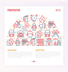 firefighter concept in half circle vector image