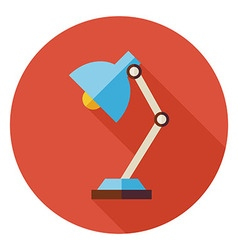 Flat Office Workplace Desk Lamp Circle Icon with vector image