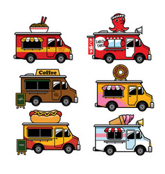 Food truck cartoon in set vector