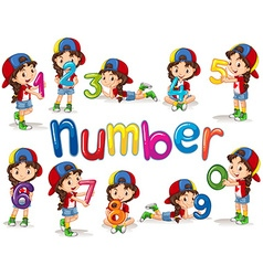 Girl and numbers zero to nine vector