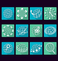 Globe flat icons with long shadows vector