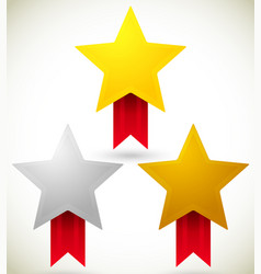 Gold silver and bronze star prizes awards vector