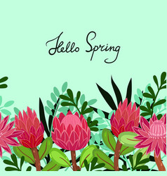 Greeting card with protea with inscription vector