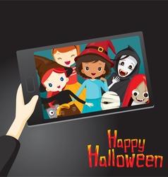 Halloween Ghosts and Children Selfie vector image