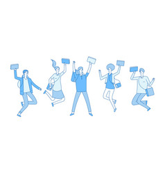 jumping student young happy college students with vector image