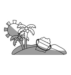 Line palms with bottle of sand in the beach on vector
