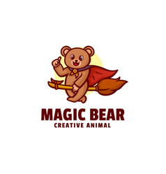 logo magic bear mascot cartoon style vector image