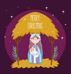 Mary bajesus hut manger nativity merry vector