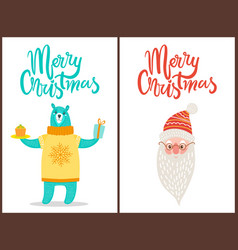 merry christmas bear and santa vector image