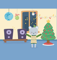 merry christmas celebration cute bear wearing vector image