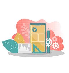 mobile application development - flat vector image