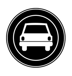 monochrome circular frame with automobile in front vector image vector image