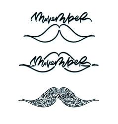 Movember cancer awareness icon set vector