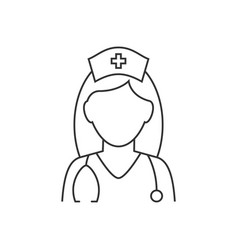nurse avatar with stethoscope line icon on white vector image