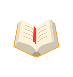 Open book with yellow hardcover and paper pages vector