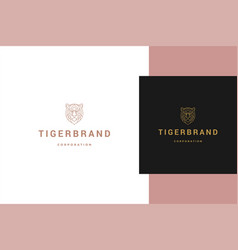Outline logo geometric tiger head line style vector