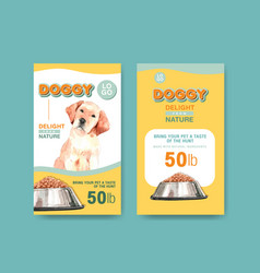 packaging template with dogs and food design vector image