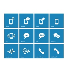 Phone icons on blue background vector image