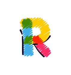 R letter logo hand drawn with a colored pencils vector